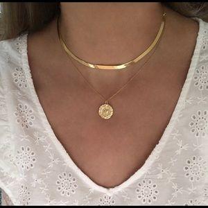 Herringbone Real Gold Choker Necklace